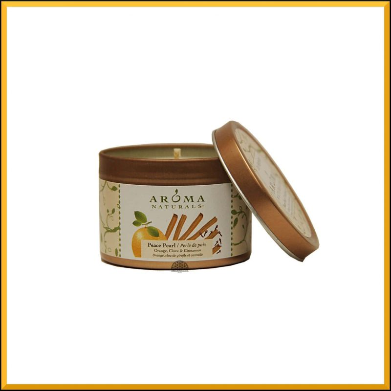 "Bougie ""Peace Pearl"" Orange, Girofle & Cannelle 79gr - Aroma Naturals"