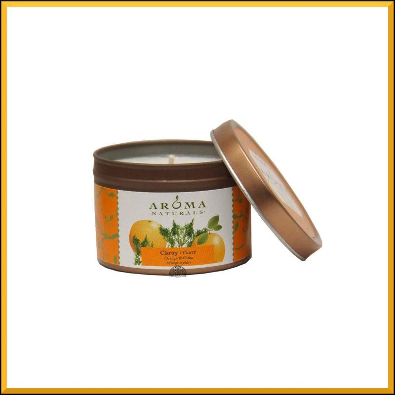 "Bougie ""Clarity"" Orange & Cèdre 79gr - Aroma Naturals"