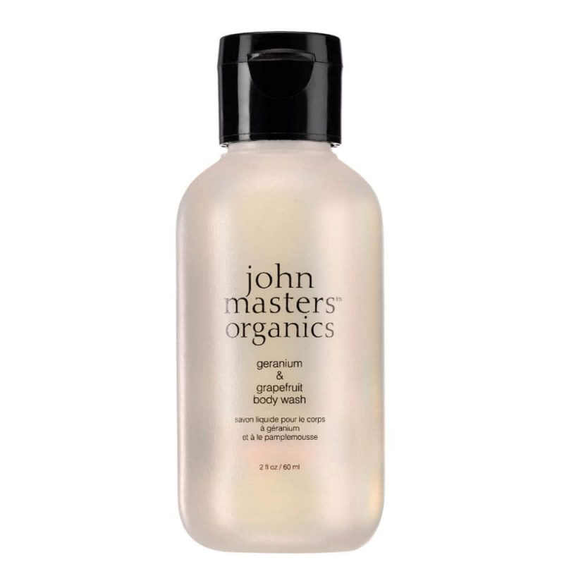 Gel douche vegan & bio Géranium Pamplemousse 60ml - John Masters Organics